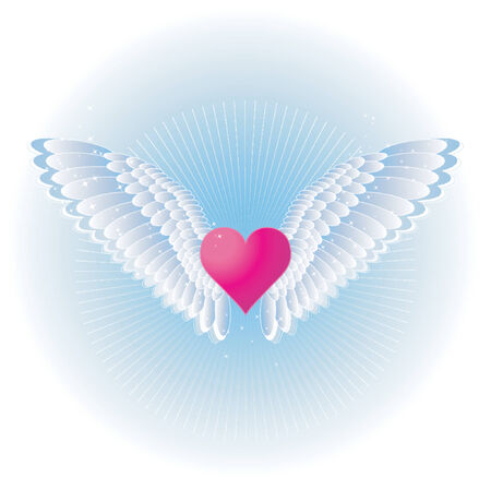 pink heart: Lovely pink heart with wings,vector illustration