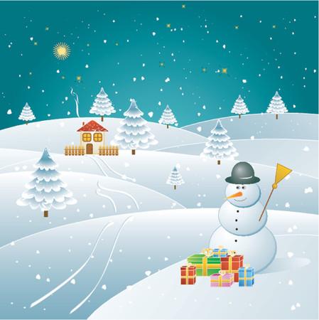 alder: Snowman in the winter forest,vector illustration