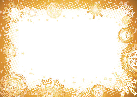 year curve: yellow christmas background with snowflakes,vector illustration