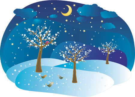 night bird: Winter trees, vector Illustration