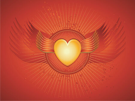 Lovely golden heart on red background with wings,vector illustration Stock Vector - 964317