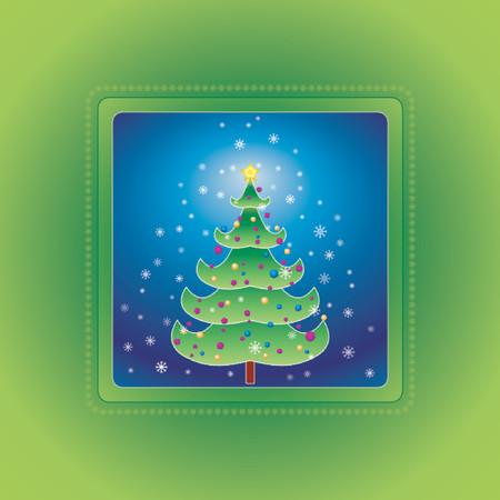 Christmas tree on the green background, vector Vector