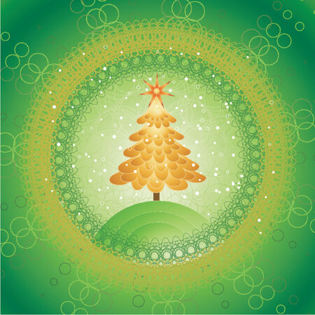 Christmas tree on the green background,vector illustration Stock Vector - 964259