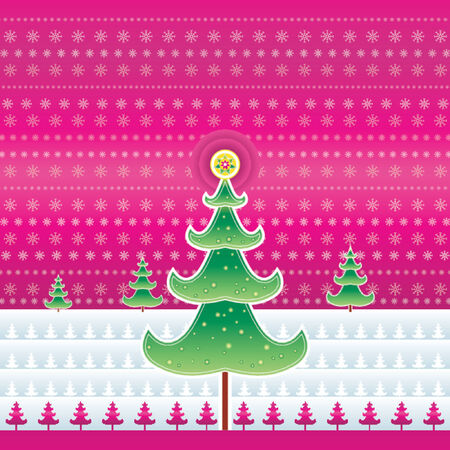 Christmas tree on the pink background,vector illustration Stock Vector - 979331