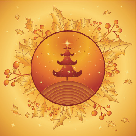 Christmas tree on the golden background,vector illustration Vector