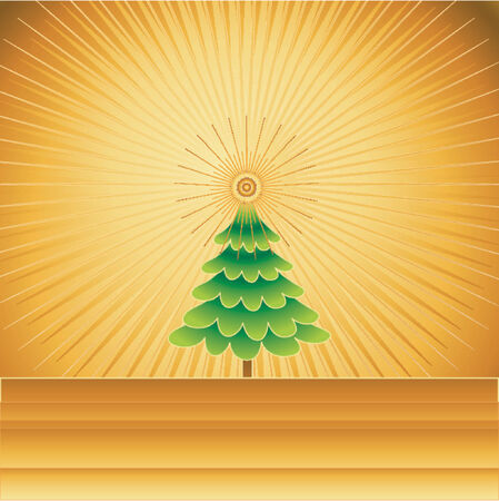 Christmas tree on the golden background,vector illustration Stock Vector - 979336