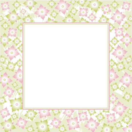 Vector background with pink and green flowers Vector