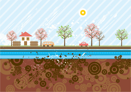 multiple house: Urban background with many automobiles,trees, automobile, vector illustration