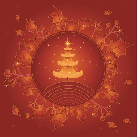 alder: golden christmas tree,vector illustration