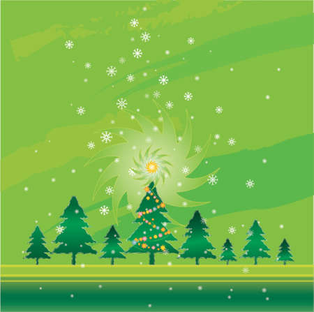 Christmas night in the pine forest Stock Vector - 979586