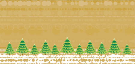 green christmas trees on the golden background Vector