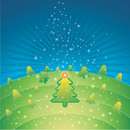 green christmas with forest of pine and snowflakes in the sky Vector