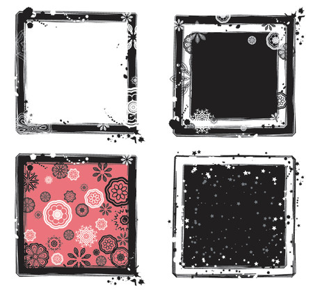 Background with many shapes,flower,star and spots, vector