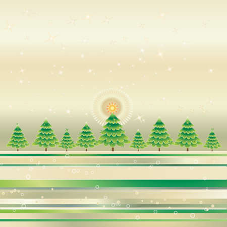 Christmas trees on the grunge golden background Stock Vector - 1029045