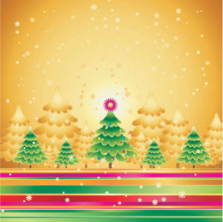 golden field: alder, card, christmas, decoration, eve, festoon, field, flake, garland, gradation, green, greeting, holiday, illustration, light, merry, natural, nature, new, night, pine, print, radiance, sky, snow, snowflake, star, tree, trimming, vector, golden, forest