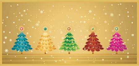 five christmas tree on the golden  background Stock Vector - 1029048