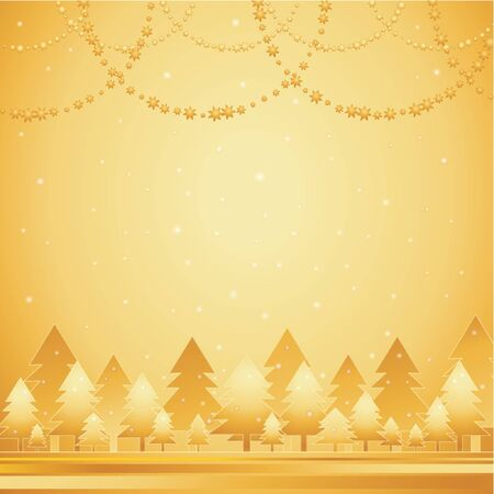 golden field: alder, card, christmas, decoration, eve, field, flake, gradation, greeting, holiday, illustration, light, merry, natural, nature, new, pine, print, radiance, sky, snow, snowflake, star, tree, trimming, vector, golden, forest Illustration