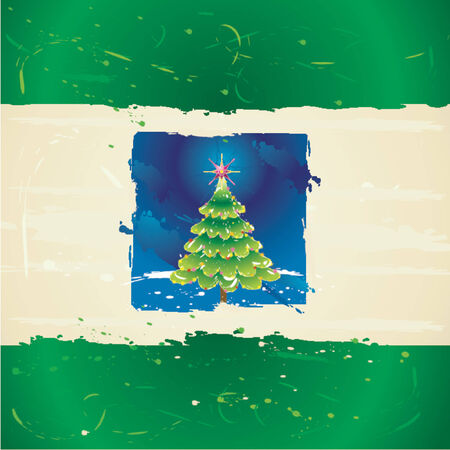 Christmas tree on the grunge background Vector