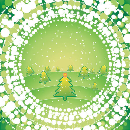 green christmas with pine and snow Stock Vector - 979735
