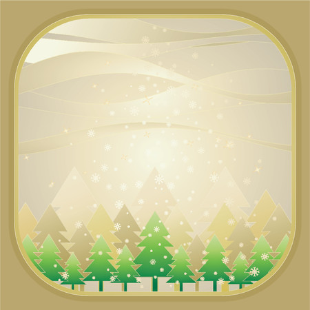 golden field: alder, card, christmas, decoration, eve, field, flake, forest, frame, golden, gradation, green, greeting, holiday, illustration, light, merry, natural, nature, new, pine, print, sky, snow, snowflake, star, tree, vector, xmas