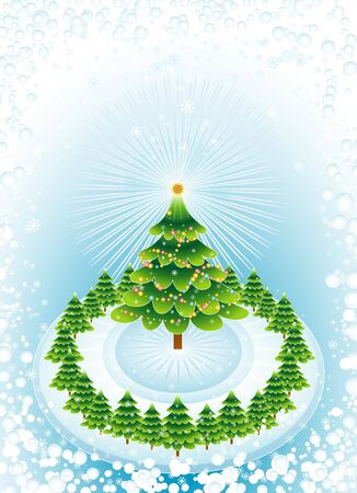 adornment, alder, card, christmas, color, day, decoration, eve, field, flake, gradation, green, greeting, holiday, illustration, light, merry, natural, nature, new, ornament, pine, print, radiance, snow, snowflake, star, tree, trimming, vector, winter, xmas Stock Illustration - 1029432
