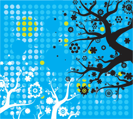 art, tree, form, blue, green, white, curve, paint, shape, retro, color, floral, spring, flower, vector, circle, season, modern, color, design, grunge, nature, detail, natural, graphic, element, drawing, clipart, picture, pattern, cartoon, geometry, abstract, wallpaper, beautiful, background, composition, stylization, illustration Vector