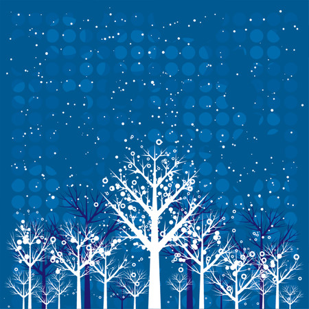 season: winter, design, forest, season, circle, vector, merry, color, shape, paint, crown, night, curve, flake, snow, blue, card, xmas, cold, tree, eve, art, sky, branch, nature, natural, holiday, graphic, drawing, clipart, picture, cartoon, greeting, abstract, christmas, snowflake, beautiful, landscape, composition, stylization, illustration