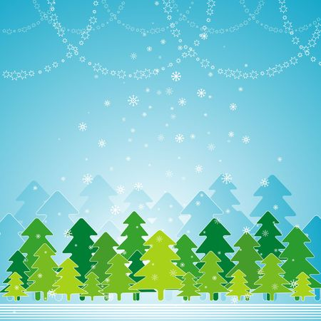 abstract, alder, blue, card, cartoon, christmas, clipart, color, composition, curve, decoration, design, drawing, eve, field, flake, forest, frame, gradation, graphic, green, greeting, holiday, illustration, light, merry, natural, nature, new, pine, print, shape, sky, snow, snowflake, stylization, tree, vector, xmas Vector