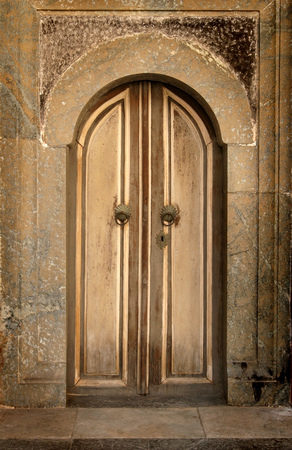 old wooden door in bulgarian Rila  monastery,built in year 1844 photo