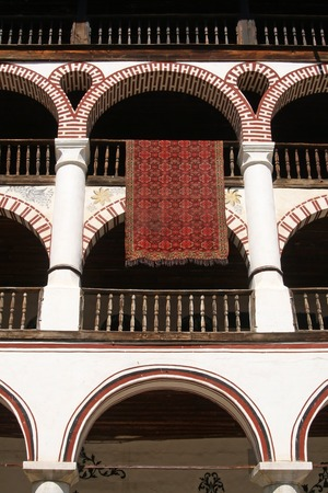 several terraces in bulgarian Rila  monastery,built in year 1844 photo