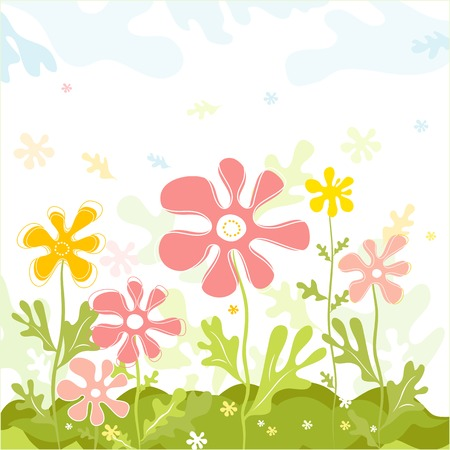 art,  form, pink, green, white, curve, paint, shape, retro, color, floral, spring, flower, vector,  season, modern, colour, design,  nature, detail, natural, graphic, element, drawing, clipart, picture,  cartoon,  abstract, wallpaper, beautiful, background, composition, stylization, illustration, sky, cloud, meadow, field, garden, decorative, style, retro, modern