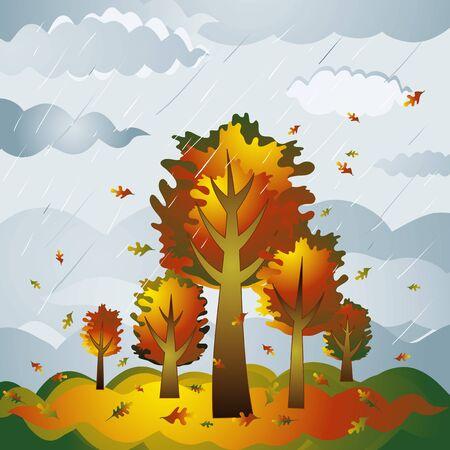 abstracto, arte, belleza, dibujos animados, im�genes en color, la composici�n, la corona, curva, el d�a, el dise�o, dibujo, sobre el terreno, un gr�fico, grunge, la ilustraci�n y el paisaje, natural, la naturaleza, pintura, la lluvia, la foto, temporada, la forma, el cielo, estilizaci�n, �rbol, vector, oto�o, rama, in situ, nubes, hojas, plantas  Foto de archivo - 1413010