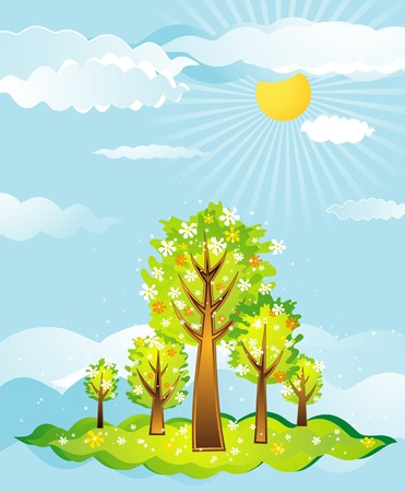 illustration, stylization, composition, landscape, beautiful, clip-art, abstract, cartoon, picture, clipart, drawing, graphic, natural, nature, branch,  design, season, vector, flower, spring, color,  shape, paint,  crown, curve, field, cloud, spot,  tree, art, sky, sun, day, summer, forest, sky, style, summer, meadow Vector