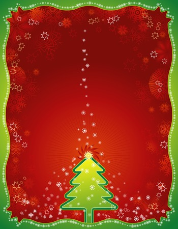 alder: Christmas background with Christmas tress and snowflakes Illustration