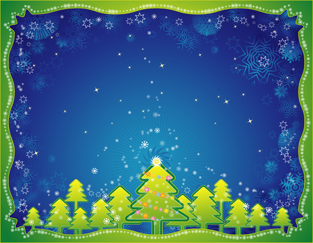 tree trimming: Christmas background with christmas trees and snowflakes