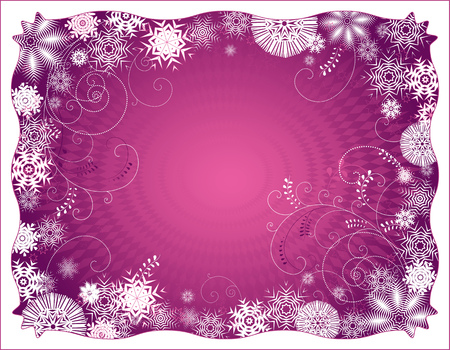 Violet background with floral and snowflake decorative motives Vector