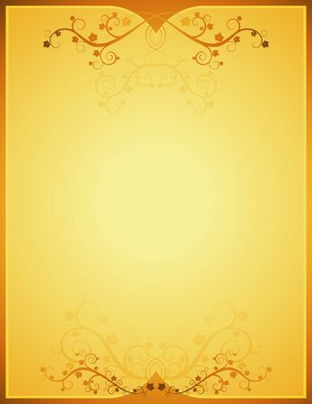 golden background  with lovely squiggles with leaves Vector