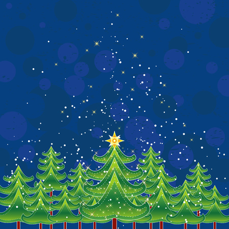 christmas card  with forest of pine and snow in the sky,vector illustration Vector