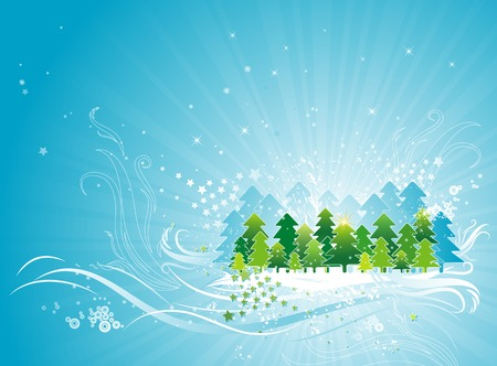 tree trimming: christmas card  with forest of pine and snow in the sky,vector illustration