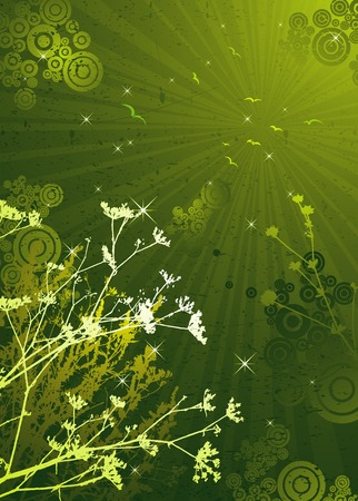 green grunge background: Few silhouettes of plants over green grunge background, vector illustration