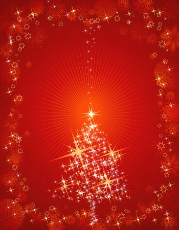 lustre: christmas card  with  pine and snowflakes in the red sky,vector illustration