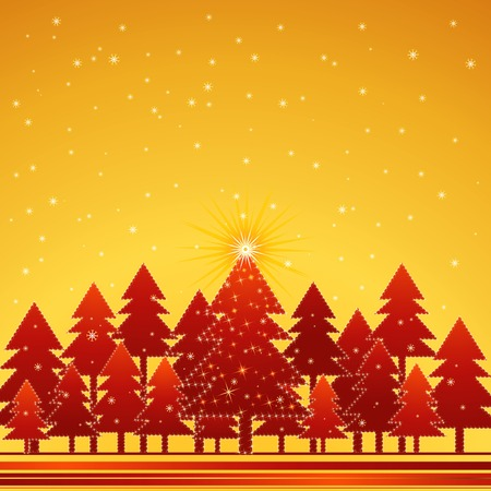 christmas card  with forest of pine and snowflakes in the golden  sky,vector illustration Vector