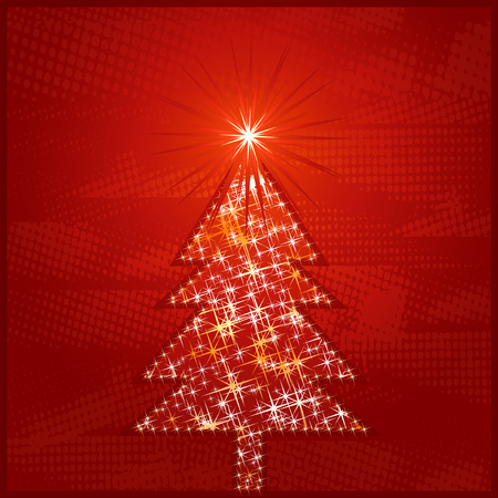 shining christmas tree, vector illustration Stock Vector - 1574424
