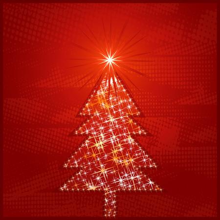 shining christmas tree, vector illustration Vector