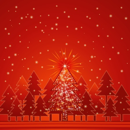 lustre: christmas card  with forest of pine and snow in the red background, vector illustration