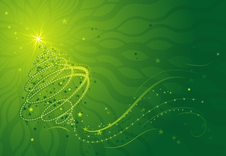 shining christmas tree, vector illustration Vector