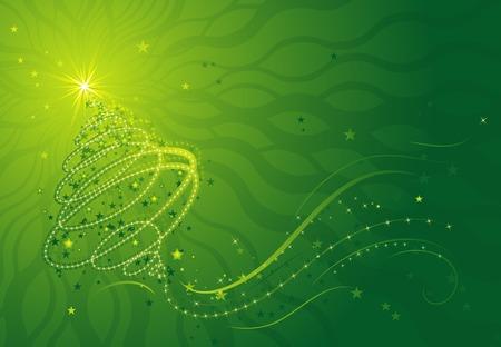 Shining christmas tree, illustration vectorielle