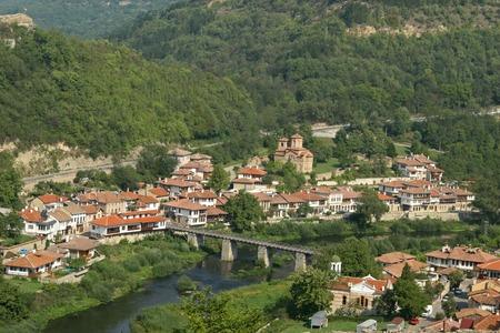veliko: landscape with houses in Veliko Tarnovo, Bulgaria Stock Photo