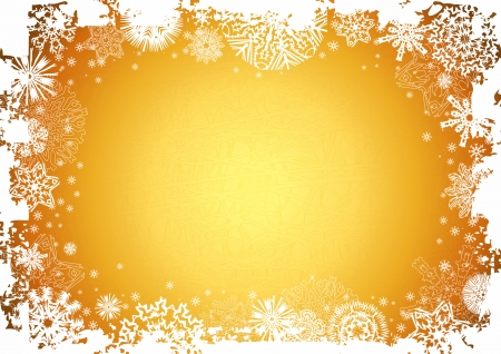year curve: new, eve, cold, xmas, card, gold, golden, snow, year, flake, curve, paint, shape, small, frame, color,  design, winter, nature, holiday, graphic, drawing, clipart, picture, cartoon, greeting, abstract, christmas, snowflake, beautiful, decoration, background, celebration, stylization, illustration, New Year, wallpaper, letter, invitation Illustration