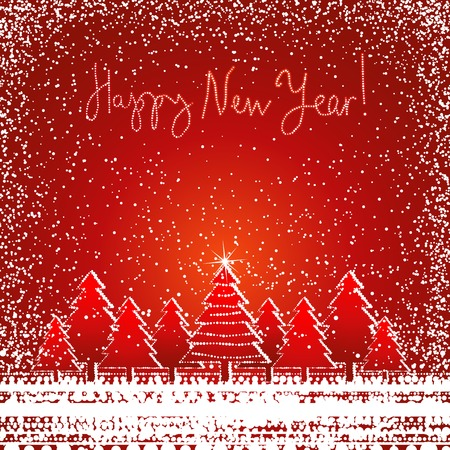 christmas card  with forest of pine and snow on the red  background, vector illustration Vector